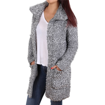 Damjacka Reign Tom Tailor Denim Ladies Knit Coat Grey White