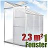 Fabriksnytt Växthus 2,3 m² 190cm x 120cm Vägg Kanalplast Alu