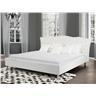 Säng vit - dubbelsäng - skinnsäng med ribotten - 160x200 - METZ