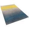 Matta grå-blå-gul - 300x400 cm - lurvig - polyester - DINAR