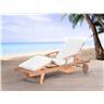 Solstol med dynor i beige - däckstol - trädgårdsmöbel - JAVA