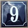 Husnummer skylt emaljerad emaljskylt Blå Nr 9 (större skylt)