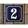 Husnummer skylt emaljerad emaljskylt Blå Nr 2 (större skylt)