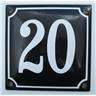 Husnummer skylt emaljerad emaljskylt Blå Nr 20 större skylt