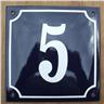 Husnummer skylt emaljerad emaljskylt Blå Nr 5 (större skylt)