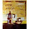 50x60 cm, abstrakt flaska och kaffe, målades med mycket oljefärg