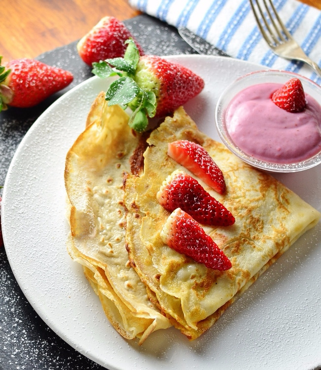 Strawberry Ricotta Crepe Pancakes