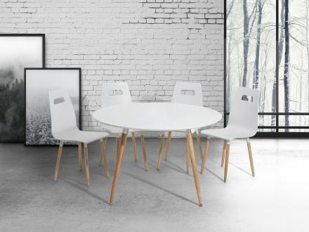 Matbord vit - köksbord - 120 cm - matsalsbord - BOVIO