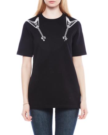 Eris Guitar black/white print fleece t-shirt