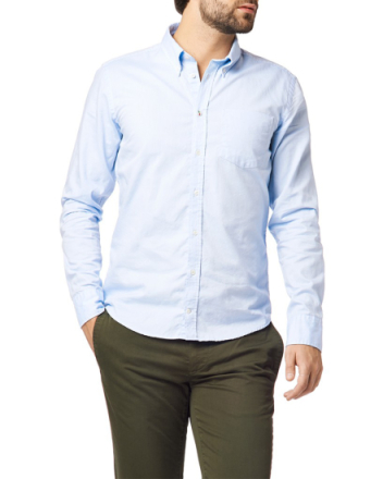 Trim fit bd solid oxford ice blue shirt