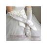NYA bröllopshandskar stl 6-8 kring 45cm långa benvita, krämvit i satin bröllop