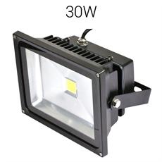LED strålkastare 30W 230V 3300lumen IP67 Svart Bredstrålande, Robust bredstrålande strålkastare för utomhusbruk. Tillverkad i Sverige 3 års garanti.