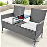 Trädgårdsmöbler Soffa med kaffebord Utemöbler Grå