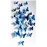 24st dekorativa fjärilar för kylskåpet eller väggen Blå