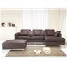 Hörnsoffa brun - soffa med schäslong och ottoman - skinnsoffa - lädersoffa - OSL