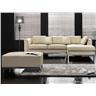 Hörnsoffa beige - soffa med schäslong och ottoman - skinnsoffa - lädersoffa - OS