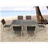 Granitbord - trädgårdsbord - bord - 6 stolar i konstrotting - TORINO