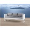 Trädgårdssoffa vit - 3-sits soffa - trädgårdsmöbel - rostfritt stål och konstrot