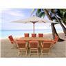 Trädgårdsmöbelset i akacia - trädgårdsmöbel - matgrupp - bord - 8 stolar med dyn