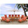 Trädgårdsmöbelset i akacia - trädgårdsmöbel - bord - 2 solstolar - 6 stolar med