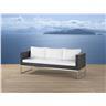 Trädgårdssoffa brun - 3-sits soffa - trädgårdsmöbel - rostfritt stål och konstro