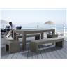 Betongmöbler - trädgårdsmöbler - matgrupp - bord med 2 stolar och 2 bänkar - TAR