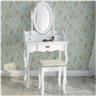 Sminkbord med 3 lådor spegel och pall Antikstil Fabriksny S3
