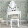 Sminkbord med 3 lådor spegel och pall Antikstil Fabriksny S4