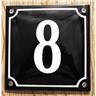 Husnummer skylt emaljerad emaljskylt Blå Nr 8 (större skylt)