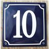 Husnummer skylt emaljerad emaljskylt Blå Nr 10 större skylt