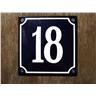 Husnummer skylt emaljerad emaljskylt Blå Nr 18 större skylt