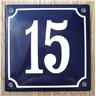 Husnummer skylt emaljerad emaljskylt Blå Nr 15 större skylt
