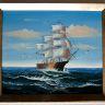 Segel båt på havet, oljemålning med guld ram, Yttermåtten: 69 x 59 x 6 cm