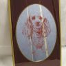 Pudel.Hund.Tavla med spegel.guldmetall ram.46X31cm.Ny fr äldra lanthandel