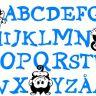 Väggdekor Alfabetet med apor 276x176mm BLÅ/SVART