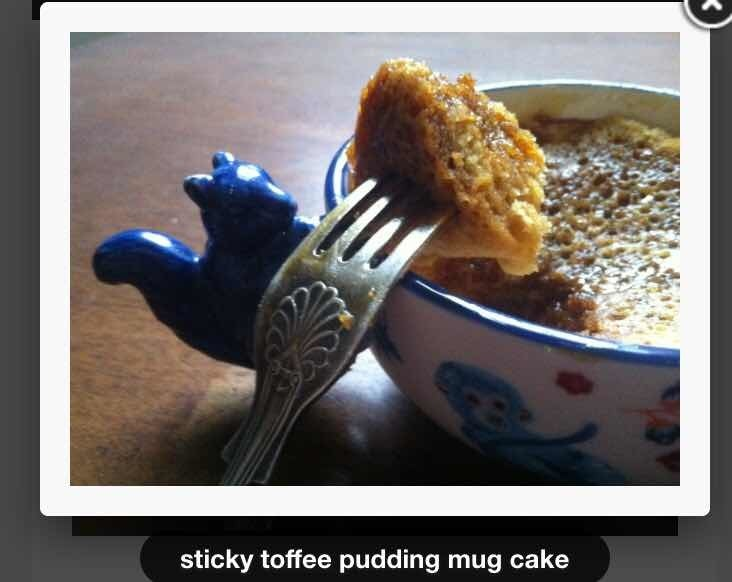 Sticky toffee mug cake