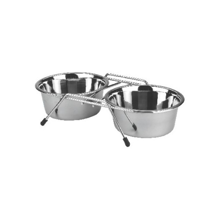 Matskål med rostfria skålar 2 x 450 ml - 2 x 450 ml