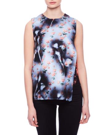 Gladis pr silk roses/palm mix blouse