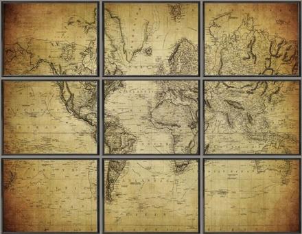 Tavla The World världskarta XL - Svart ram