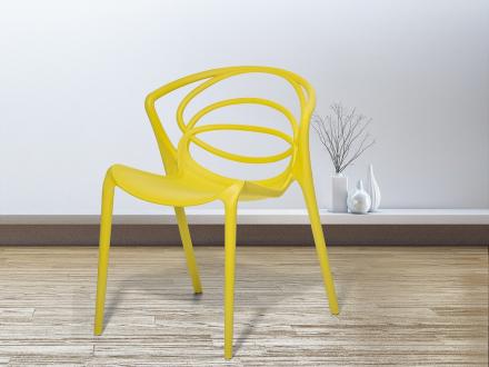 Stol gul - plaststol - matsalsstol - vardagsrumsstol - BEND