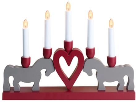 Leksand 5L ljusstake med hästar och hjärta, grå/röd