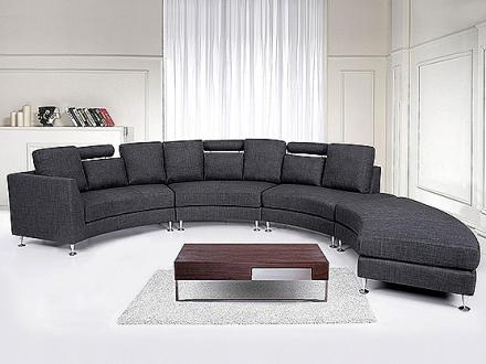 Rund divansoffa grå - soffa - tygsoffa - ROTUNDE