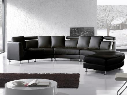 Rund divansoffa svart - soffa - skinnsoffa - lädersoffa - ROTUNDE