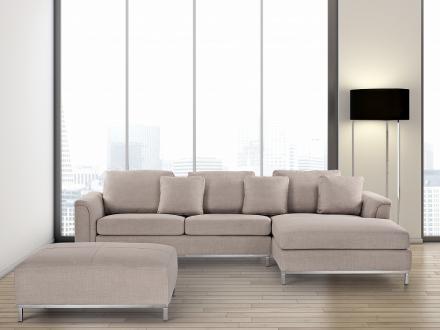 Hörnsoffa beige V - soffa med schäslong och ottoman - tygsoffa - OSLO