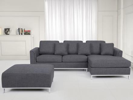 Hörnsoffa grå V - soffa med schäslong och ottoman - tygsoffa - OSLO