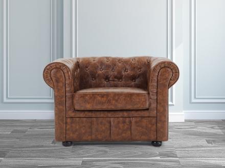 Chesterfield fåtölj old style brun - fåtölj - konstskinn - konstläder - CHESTERFIELD