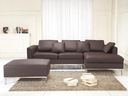 Hörnsoffa brun V - soffa med schäslong och ottoman - skinnsoffa - lädersoffa - OSLO
