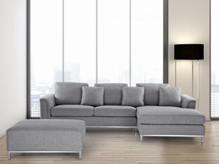 Hörnsoffa ljusgrå V - soffa med schäslong och ottoman - tygsoffa - OSLO