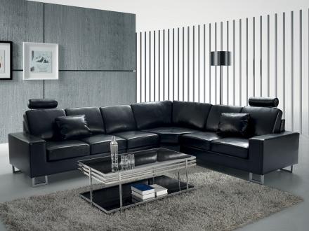 Hörnsoffa svart - soffa - skinnsoffa - lädersoffa - STOCKHOLM