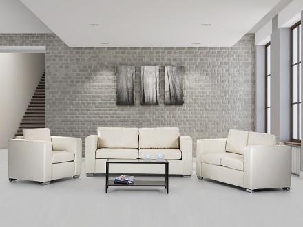 Soffgrupp beige - soffa - fåtölj - soffgrupp i skinn - HELSINKI